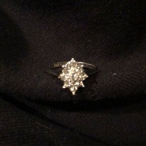 14K gold silver plated ring with rhinestones